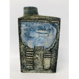 TROIKA CHIMNEY VASE C1959-1962 BEARING INITIALS TO BASE AL (ANNE LEWIS) HEIGHT 21.5CM.