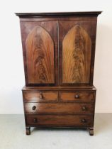 VICTORIAN MAHOGANY LINEN PRESS WITH TURNED HANDLES, BEADED DETAIL TO DOORS W 124CM, D 56CM,