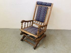 EDWARDIAN BEECH WOOD ROCKING CHAIR WITH TAPESTRY DETAIL