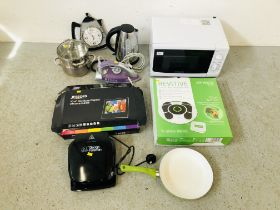 A COOKWORKS MICROWAVE OVEN, A GEORGE FORMAN GRILL, A MORPHY RICHARDS STEAM IRON,