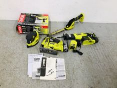 A COLLECTION OF RYOBI CORDLESS POWER TOOLS WITH CHARGER AND INTERCHANGEABLE BATTERY TO INCLUDE