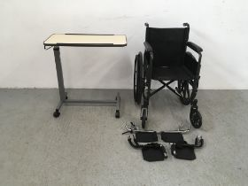 CARE CO WHEEL CHAIR AND FOOT RESTS ALONG WITH A WHEELED BED TRAY