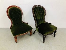 TWO VICTORIAN MAHOGANY FRAMED NURSING CHAIRS,