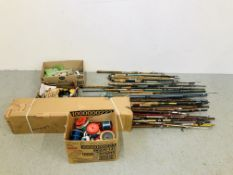 LARGE QUANTITY OF FISH RODS ALONG WITH 3 BOXES OF FISHING TACKLE INCLUDING LINE GLOW TUBES ETC