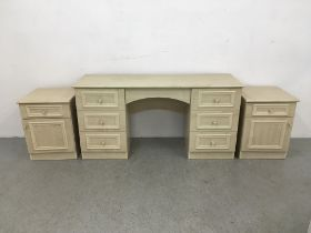 MODERN SEVEN DRAWER DRESSING TABLE TOGETHER WITH A PAIR OF MATCHING SINGLE DRAWER SINGLE DOOR