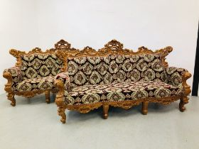 A PAIR OF HIGHLY DECORATIVE REPRODUCTION CONTINENTAL STYLE THREE SEATER COUCHES - NON COMPLIANT