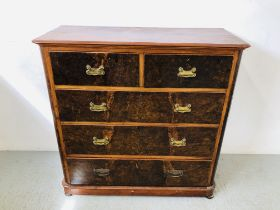 A VICTORIAN MAHOGANY TWO OVER THREE CHEST OF DRAWERS WITH PLATE BRASS FITTINGS AND DEEP BLANKET