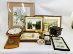 COLLECTION OF FRAMED PICTURES AND PRINTS ALONG WITH LOCAL FRAMED ETCHING WALL CLOCK,