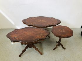 TWO REPRODUCTION ITALIAN SINGLE PEDESTAL STYLE OCCASIONAL TABLES