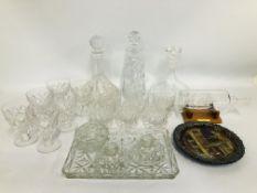 VINTAGE 4 PIECE DRESSING TABLE SET, CUT GLASS DECANTER AND 6 GLASSES, CUT GLASS DECANTER, ONE OTHER,