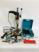 A METABO POWER DRILL IN DRILL STAND WITH WOLFCRAFT WORK CLAMP ALONG WITH A ROLSON 12 VOLT IMPACT