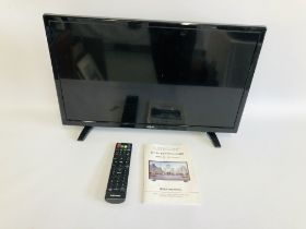 A LINSAR 24 INCH LED TELEVISION COMPLETE WITH REMOTE AND INSTRUCTIONS - SOLD AS SEEN