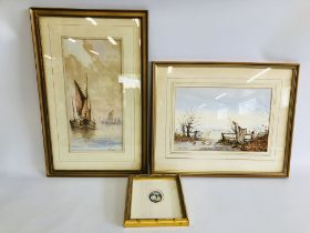 A FRAMED WATERCOLOUR 'SHIPS IN HARBOUR' BEARING SIGNATURE N. STEWART 9 X 40CM.