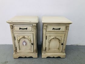 A PAIR OF VICTORIAN ANTIQUE FRENCH STYLE BEDSIDE CABINETS WITH ORNATE ARCHED DETAIL TO ENDS (46CM