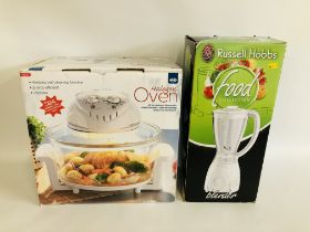 AN AS NEW BOXED HALOGEN OVEN WITH SELF CLEANING FUNCTION AND BOXED AS NEW RUSSELL HOBBS FOOD