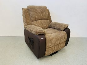 A MODERN ELECTRIC RECLINING EASY CHAIR WITH BROWN FAUX LEATHER AND BROWN CORDED UPHOLSTERY - SOLD