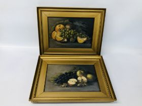 TWO STILL LIFE'S OIL ON CANVAS OF FRUIT BEARING SIGNATURE O MOORE 1922