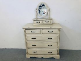 A VICTORIAN ANTIQUE FRENCH STYLE 2 OVER 3 DRAWER CHEST WITH ORNATE CARVED DETAIL TO END AND