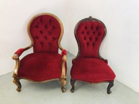 2 X VICTORIAN MAHOGANY FRAMED RED VELVET BUTTON BACK CHAIRS
