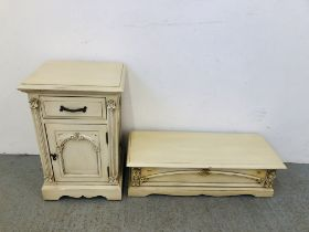 A VICTORIAN ANTIQUE FRENCH STYLE BEDSIDE CABINET 36CM WIDE X 38CM DEEP X 70CM HIGH AND MATCHING