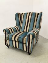 A MODERN DESIGNER STRIPED UPHOLSTERED WING SIDE ARM CHAIR