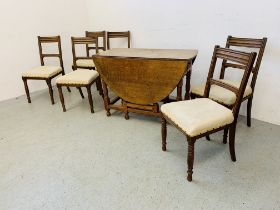 A SET OF 6 OAK FRAMED EDWARDIAN DINING CHAIRS ALONG WITH A SOLID OAK GATELEG DINING TABLE