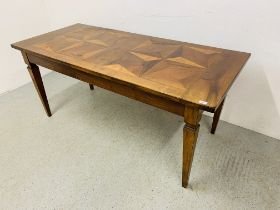 A MODERN HARDWOOD DINING TABLE WITH INLAID SECTIONAL DESIGN TOP 1.8M X 80CM.