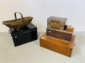 A VINTAGE OAK TREASURY BOX BEARING J.C.