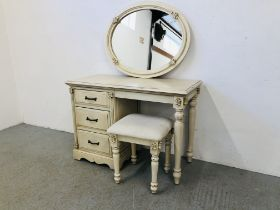 A VICTORIAN ANTIQUE FRENCH STYLE 3 DRAWER DRESSING TABLE AND STOOL 110CM WIDE X 48CM DEEP X 77CM