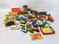 A COLLECTION OF DIE-CAST VEHICLES TO INCLUDE CORGI, LLEDO, MATCHBOX,