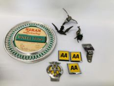 VARIOUS VINTAGE CAR BADGES AND 2 WHEEL COVERS TO INCLUDE AA, VOLKSWAGEN, KANGAROO, EAGLE ETC.
