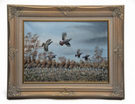 MARK CHESTER (F.W.A.S.) 'TAKING OFF', an original oil on canvas, signed by the artist, showing