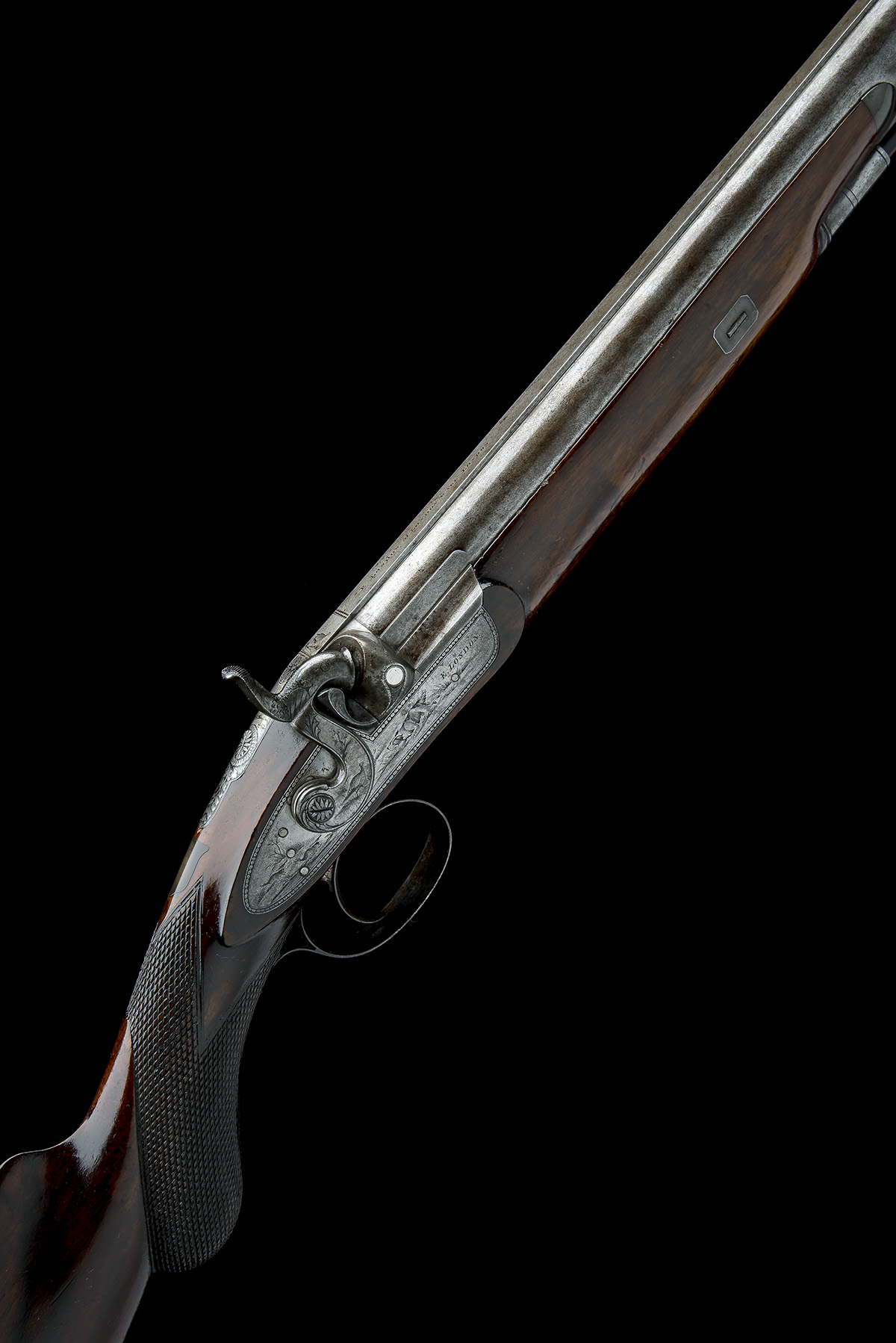 E. LONDON, LONDON AN 11-BORE PERCUSSION SINGLE-BARRELLED SPORTING-GUN, no visible serial number,