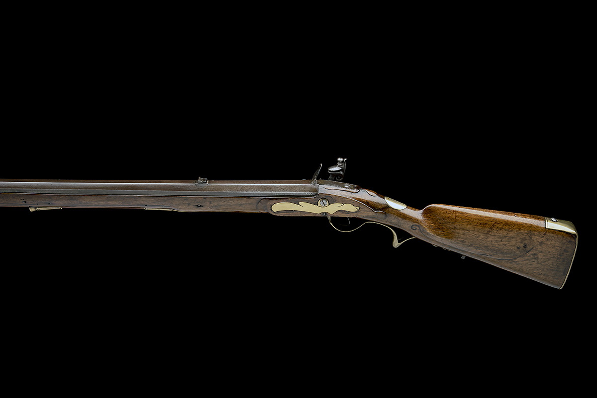 A .650 FLINTLOCK SPORTING-RIFLE SIGNED INNES, no visible serial number, circa 1780 and of jager - Image 2 of 9
