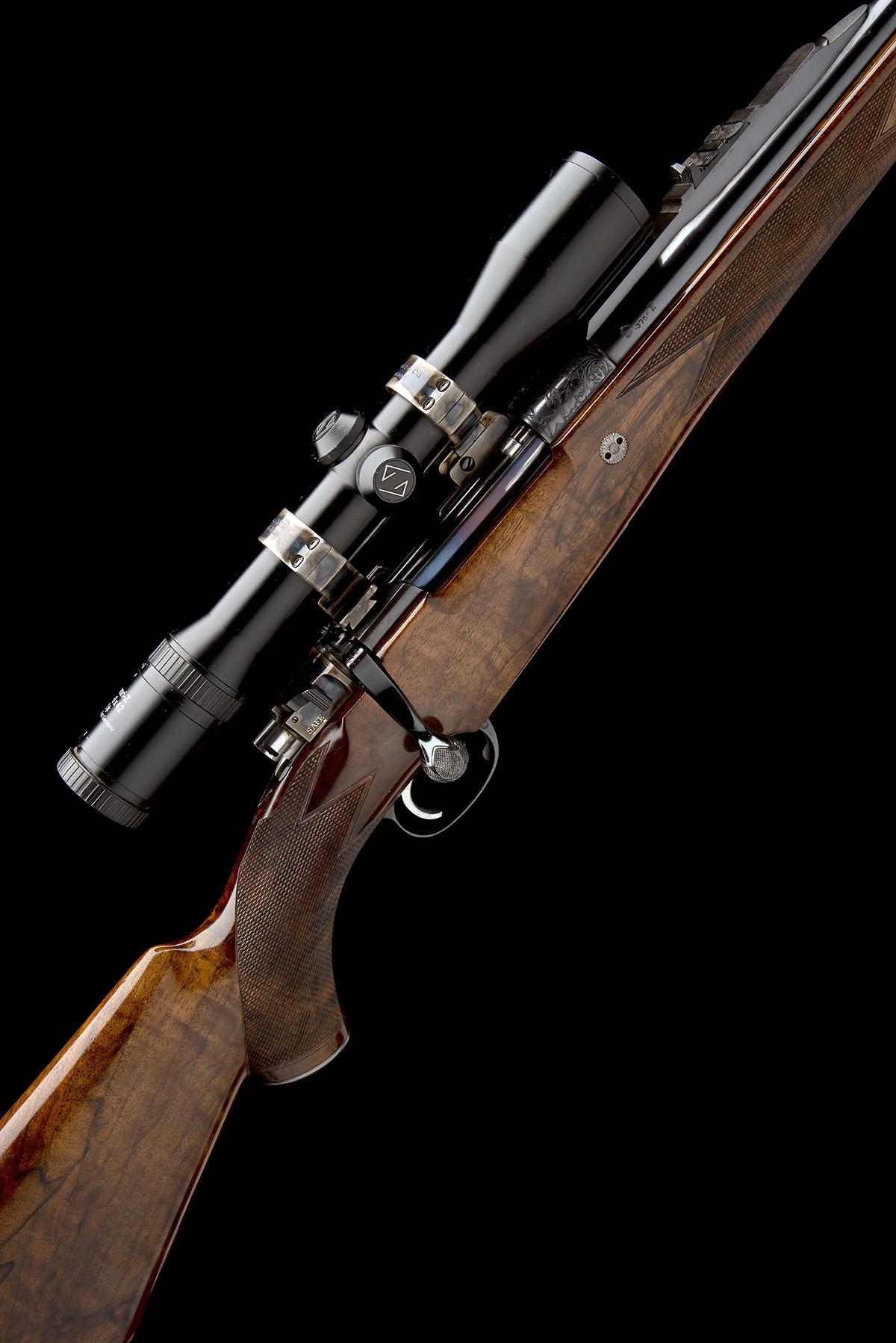 J. RIGBY & CO. A FINE, HUNT-ENGRAVED .375 H&H MAGNUM BOLT-MAGAZINE SPORTING RIFLE, serial no.