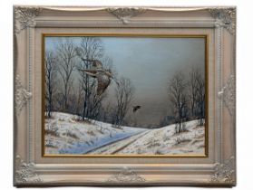 MARK CHESTER (F.W.A.S.) 'WINTER SNOW', an original oil on canvas signed by the artist, showing
