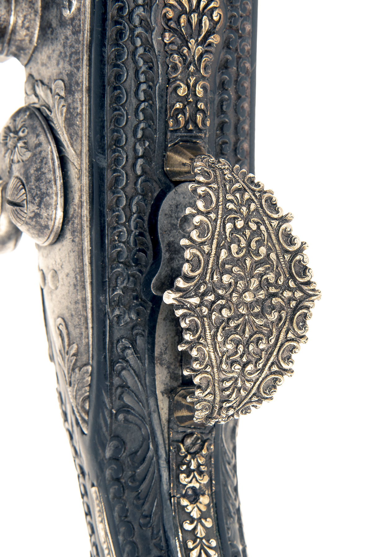 A FINE PAIR OF 22-BORE FLINTLOCK HOLSTER-PISTOL WITH EBONY STOCKS AND NIELLO DECORATION, UNSIGNED, - Image 5 of 10