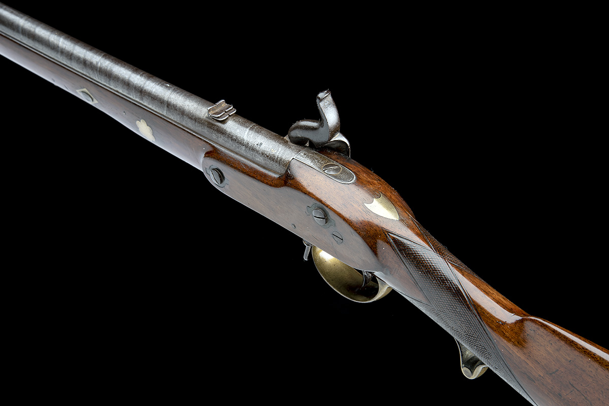 A .660 PERCUSSION RIFLED SINGLE-BARRELLED CAVALRY-CARBINE, UNSIGNED, no visible serial number, circa - Image 5 of 8