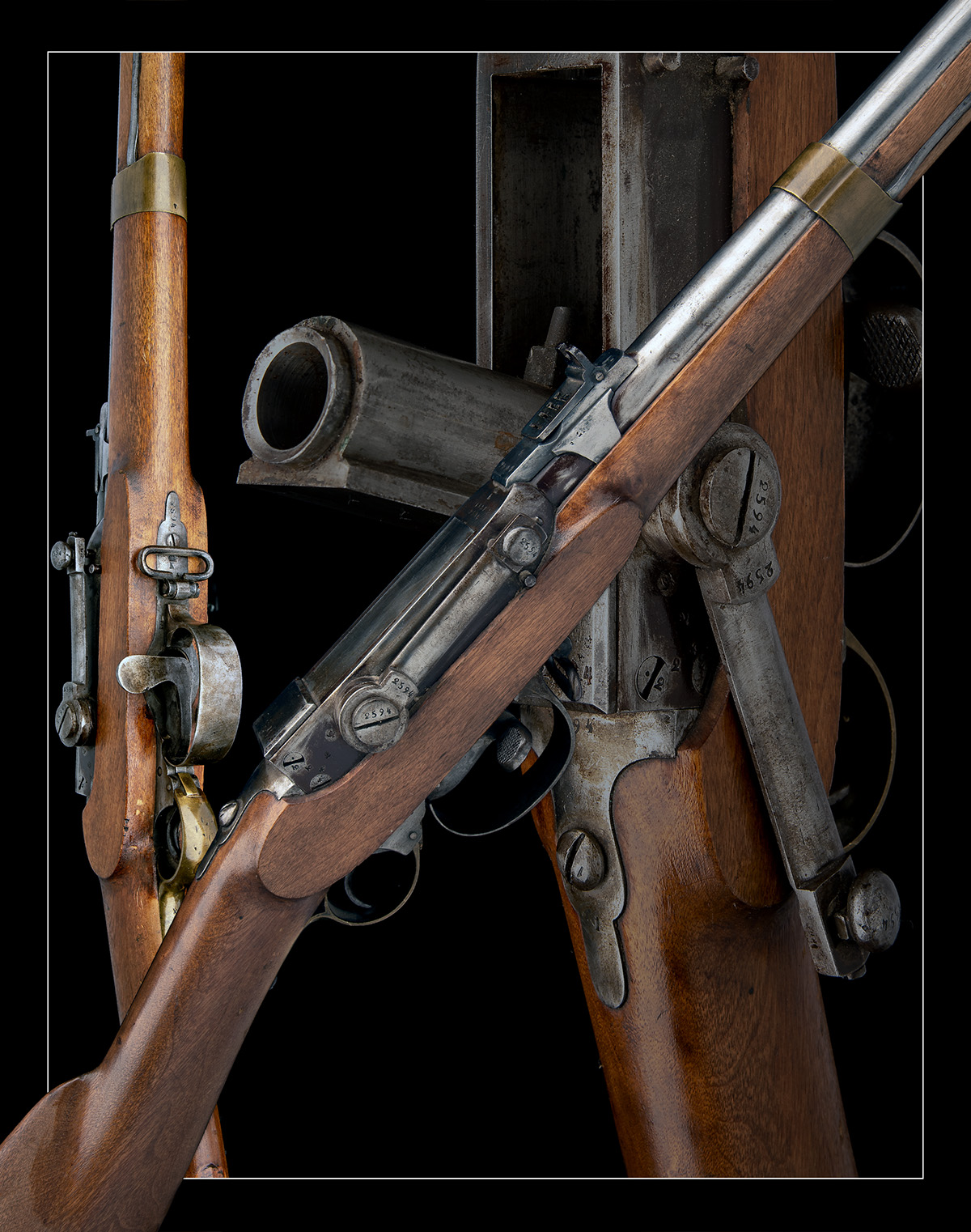 A RARE 17.5mm PERCUSSION BREECH-LOADING SERVICE-RIFLE, MODEL 'NORWEGIAN KAMMERLADER', serial no. - Image 10 of 10