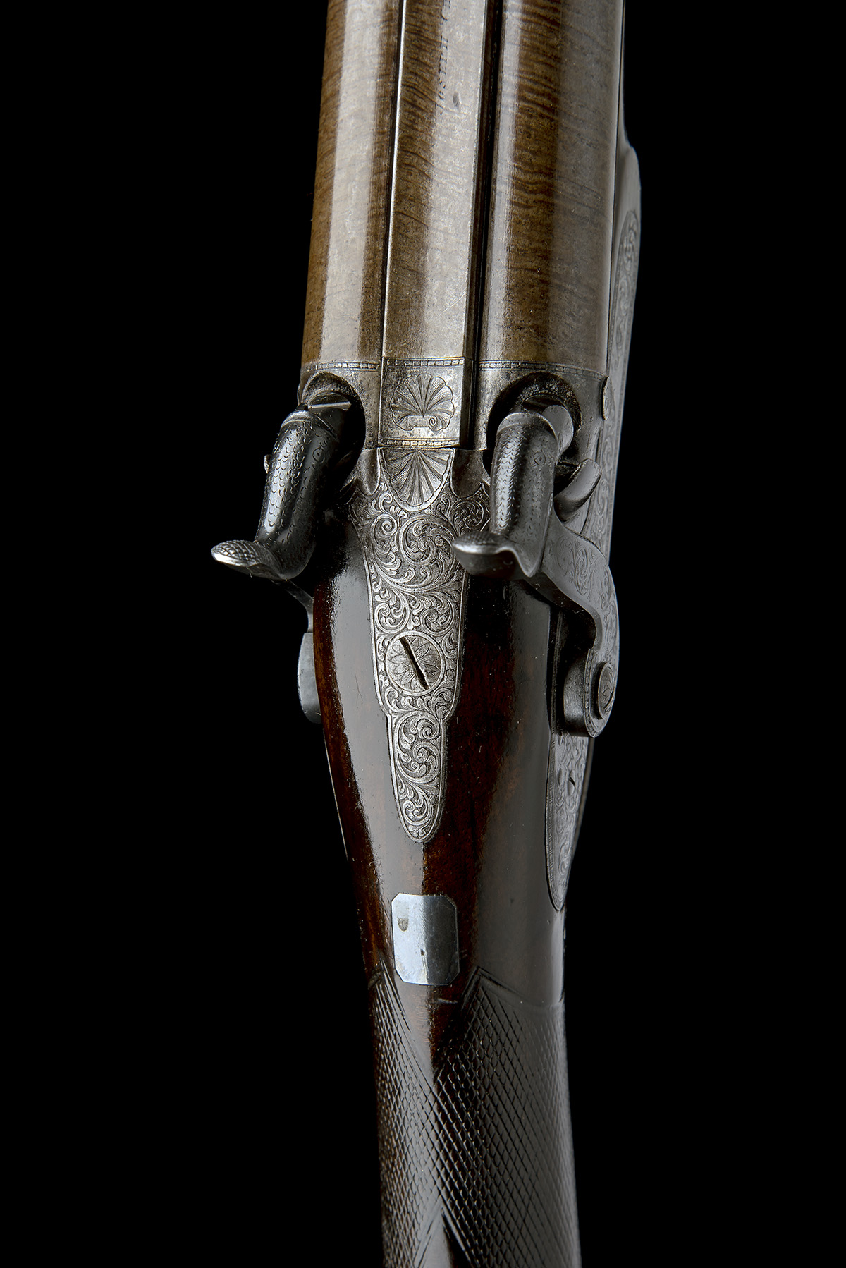 J.C. REILLY, LONDON A GOOD 12-BORE PERCUSSION DOUBLE-BARRELLED SPORTING-GUN, serial no 5580, for - Image 4 of 11