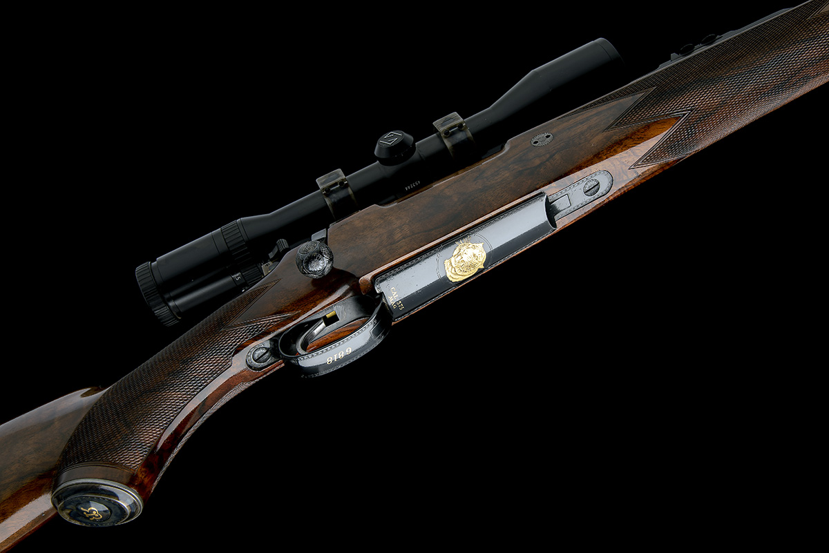 J. RIGBY & CO. A FINE, HUNT-ENGRAVED .375 H&H MAGNUM BOLT-MAGAZINE SPORTING RIFLE, serial no. - Image 3 of 12