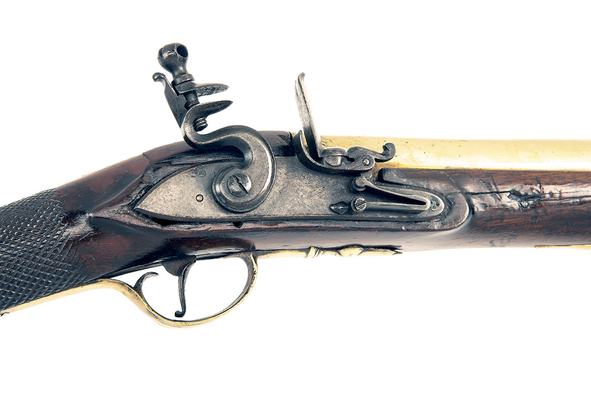 A 12-BORE FLINTLOCK BRASS-BARRELLED BLUNDERBUSS, UNSIGNED, no visible serial number, English circa - Image 3 of 4