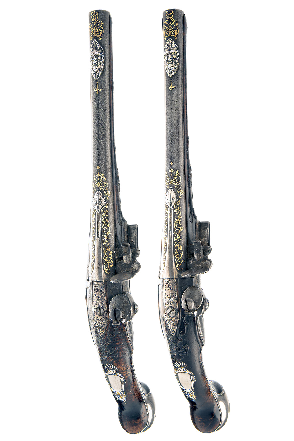 TULA ARSENAL, RUSSIA A MAGNIFICENT PAIR OF 16-BORE FLINTLOCK SILVER & GILT-MOUNTED HOLSTER - Image 3 of 6