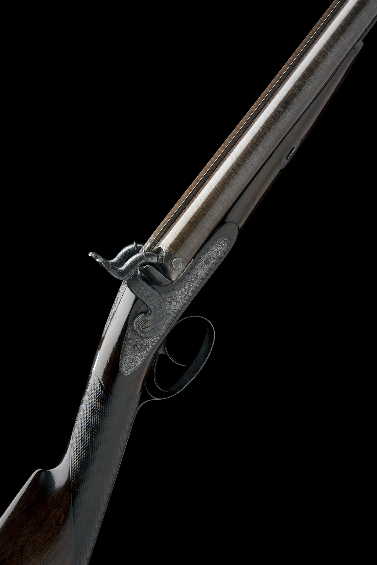 J.C. REILLY, LONDON A GOOD 12-BORE PERCUSSION DOUBLE-BARRELLED SPORTING-GUN, serial no 5580, for