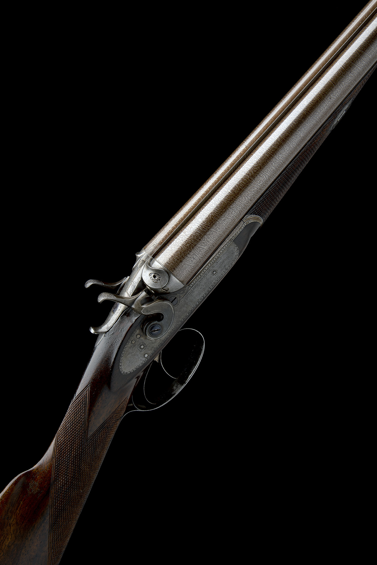 WILLIAM POWELL & SON A 12-BORE 1864 PATENT BAR-IN-WOOD LIFT-UP TOPLEVER ROTATING SINGLE BOLT SNAP-