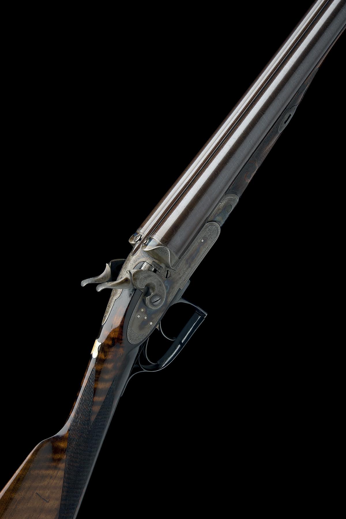 JOHN HANSON A SCARCE 12-BORE 1868 PATENT SLIDING GUARD HAMMERGUN, serial no. 731, circa 1870,