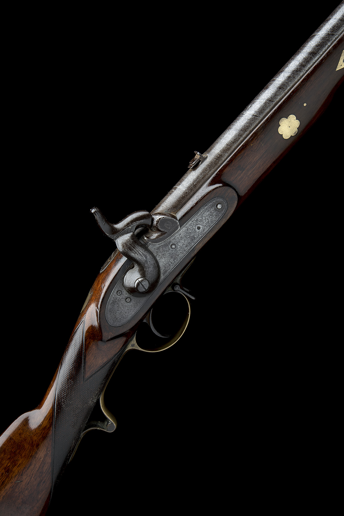 A .660 PERCUSSION RIFLED SINGLE-BARRELLED CAVALRY-CARBINE, UNSIGNED, no visible serial number, circa - Image 6 of 8