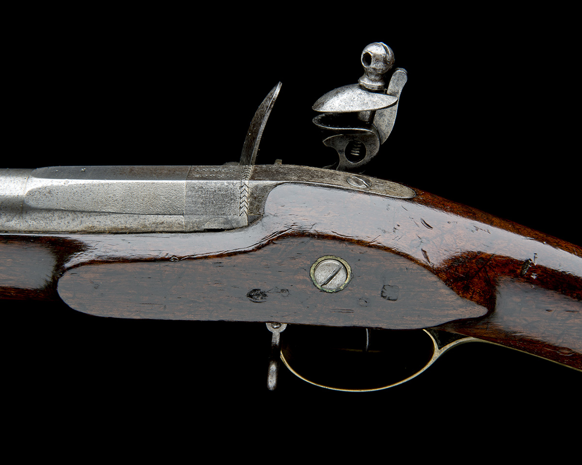 H. NOCK, LONDON A RARE .650 FLINTLOCK RIFLED VOLUNTEER CARBINE WITH ENCLOSED SCREWLESS LOCK, - Image 8 of 9