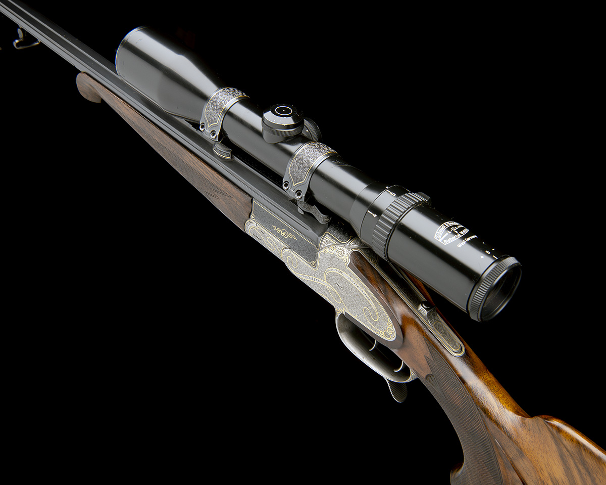 H. SCHEIRING A .300 WIN. MAG. JAEGER PATENT SINGLE-BARRELLED SIDEPLATED PUSH-FORWARD UNDERLEVER - Image 5 of 13