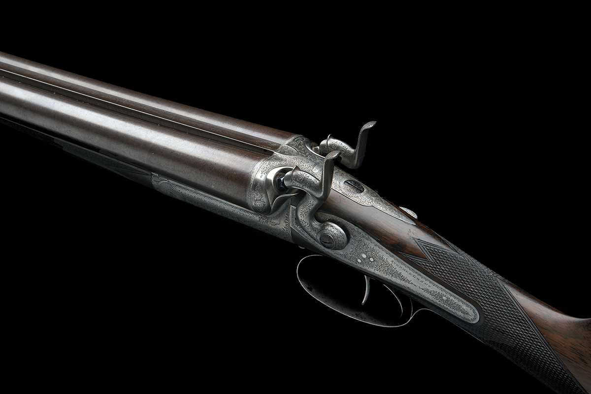 STEPHEN GRANT A 12-BORE 1871 PATENT SIDELEVER HAMMERGUN, serial no. 4419, for 1875, 30in. nitro - Image 6 of 8